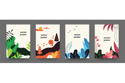 Flat plant posters. Gradient abstract geometric banners with copy spac