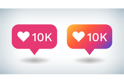 Counter Notification Icon. Social media gradient bulb with 10K followe