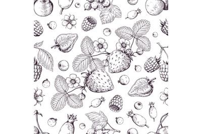 Hand drawn berries pattern. Vintage forest cherry strawberry blackberr