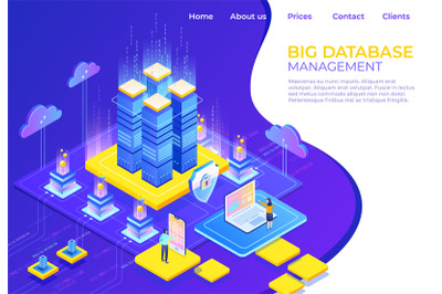 Database isometric concept. Server business technology landing page, b