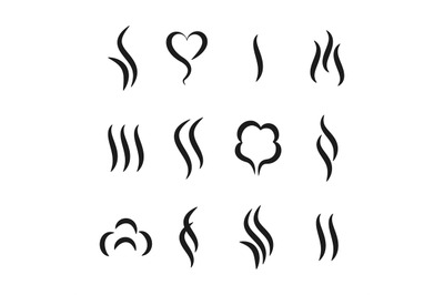 Aroma steam icons. Warm vapour and cooking smell abstract symbols, aro