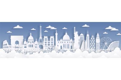 Paper cut landmarks. Travel the world background, skyline advertising