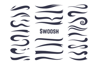 Swooshes and swashes. Underline swish tails for sport text logos, swir