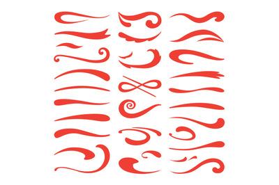 Underline swooshes. Swish brush emphasis, hand drawn marker stroke, do