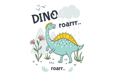 Doodle dinosaur poster. Cute cartoon animal character, hand drawn frie