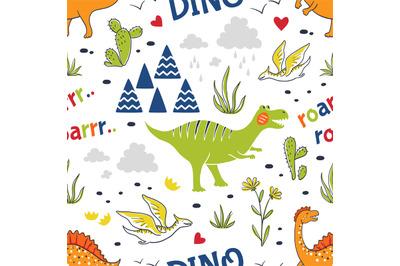 Doodle dinosaur pattern. Seamless fabric print, trendy hand drawn text