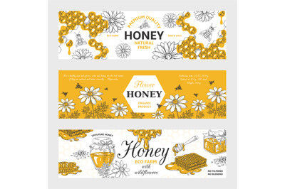 Honey labels. Honeycomb and bees vintage sketch background, hand drawn