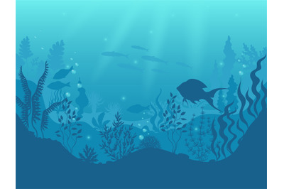 Underwater silhouette background. Undersea coral reef, ocean fish and
