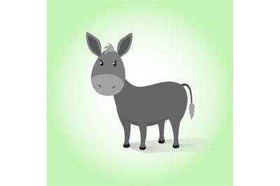 Donkey. Cartoon vector drawing illustration domestic funny calm mule.