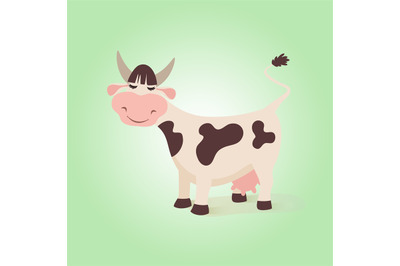 Happy funny cow. Creative illustration farm cute cows with expressions