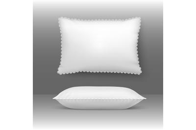 Vector pillows illustration. Cushion elegant white comforter bolster w