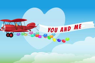 Airplane with poster You and Me and Festive Helium Balloons