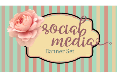 5 header templates with rose, stripes and banner with copy space.