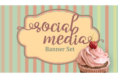 Set of premade social media template banners with copy space & cupcake