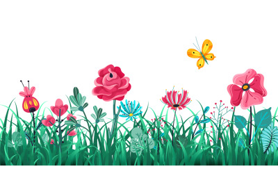 Floral grass border. Green flowers spring field, summer meadow nature,