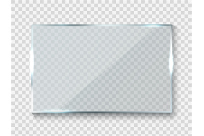 Reflecting glass banner. Gloss rectangle reflection 3d panel texture o