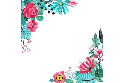 Summer flowers frame. Floral garden flower flowering plant nature flor