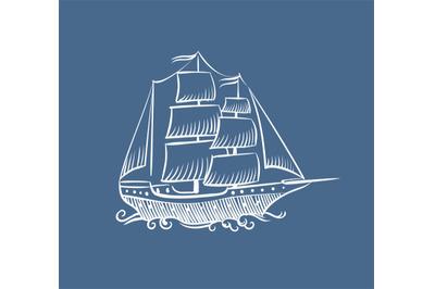 Vintage boat sketch. Hand drawn old pirate sea sailboat vector doodle