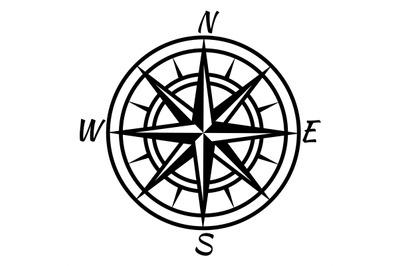 Vintage compass. Retro nautical marine mapping symbol for treasure wor