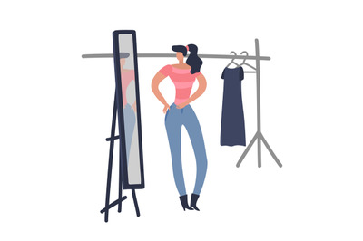 Women shopping. Girl is trying on fashion female cloth looking woman n