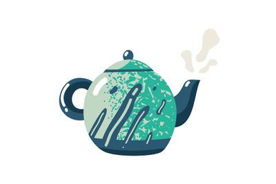 Flat teapot. Kettle ceramic crockery sign fresh pour kitchen lifestyle