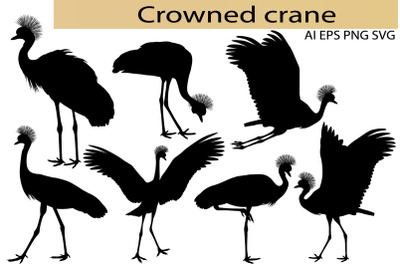 Crowned crane silhouette