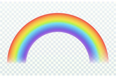 Realistic rainbow. Color arch joyful summer spring sky iridescent ligh