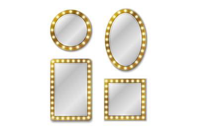 Makeup mirror. Mirroring reflection surface realistic blank mirrors gl