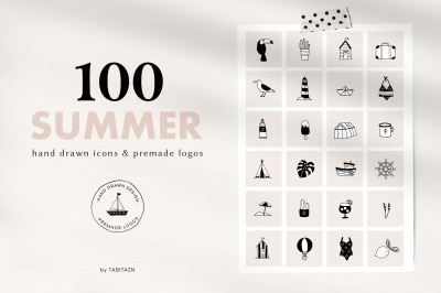100 SUMMER hand drawn icons & logos