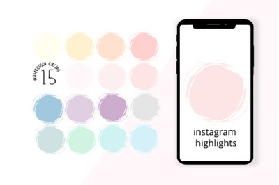 Watercolor Circle Icons | Instagram Highlight Sotories