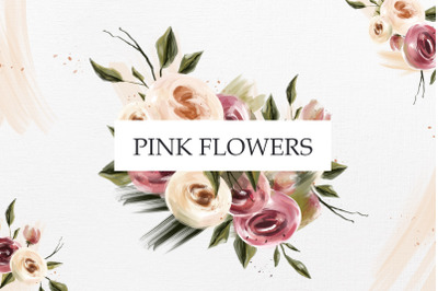Pink oil flowers collection