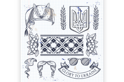 Ukrainian icons collection with tradition symbols