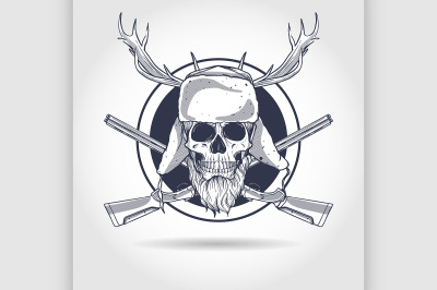 Hand drawn hunter skull