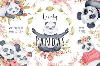 Lovely Pandas and Sakura flowers watercolor set