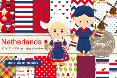 Netherlands Digital Papers and Windmill Clipart, clogs, Dutch Holland