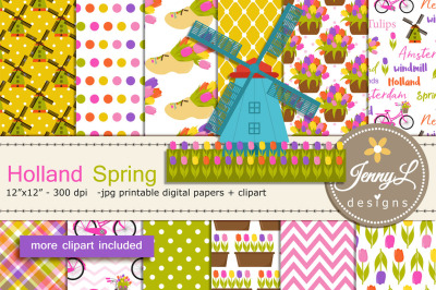 Holland Spring Digital Papers and Windmill Bike Clipart, clogs, Dutch