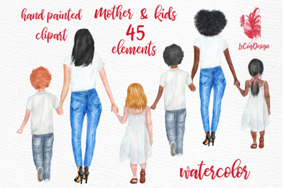 Mother and children Watercolor clipart