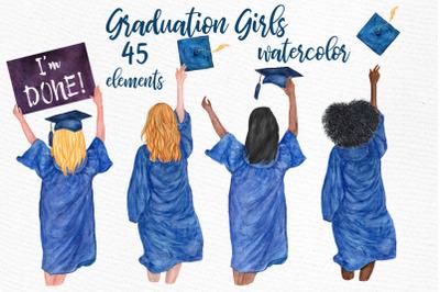 Graduation Clipart, GRADUATING GIRLS Watercolor clipart