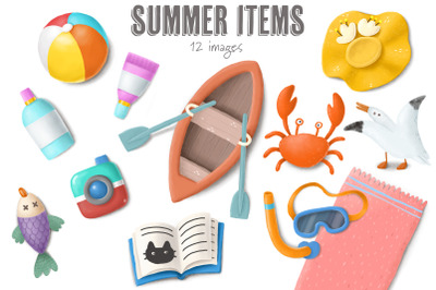 Beach items collection