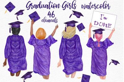 Graduation Clipart, GRADUATING GIRLS, Watercolor clipart