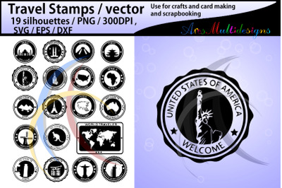 Travel Stamps vector cutting files / travel stamps silhouette
