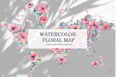 Watercolor Floral World Map