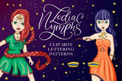 Zodiac nymphs. Big graphic set.