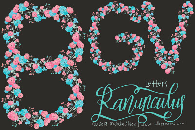 Ranunculus 01 - Blue and Pink Flower LETTERS