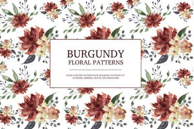 Burgundy floral seamless patterns