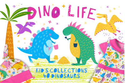 DINO life. Cute Dinosaurs.