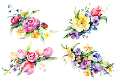 Bouquets with violas, roses Watercolor png