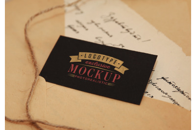 Photorealistic logo mock-up with antique vintage background
