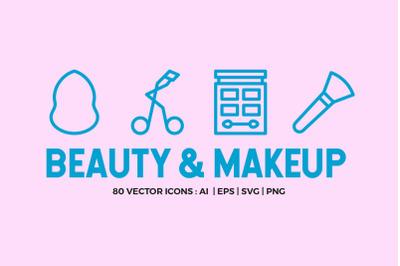 80 Beauty & Makeup Line Icons