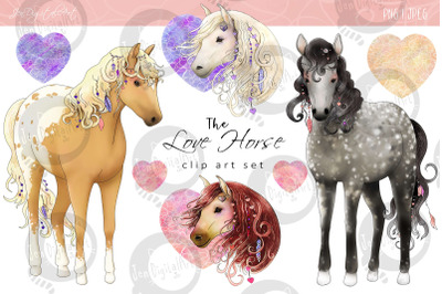The Love Horse Magical Clip Art Set | PNG/JPEG Illustrations